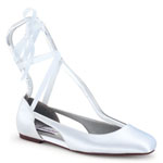 Dyeables Womens Fawn White Satin Ballet Wedding Shoes