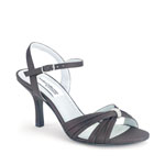 Dyeables Womens Natalie Black Satin Sandals Prom and Evening Shoes