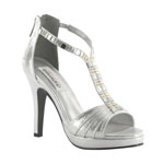Dyeables Womens Riley Silver Shimmer Synthetic Platforms Prom and Evening Shoes
