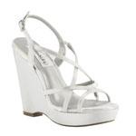 Dyeables Womens Dee White Satin Sandals Wedding Shoes
