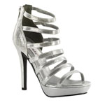 Dyeables Womens Lola Silver Shimmer Synthetic Platforms Prom and Evening Shoes