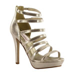 Dyeables Womens Lola Champagne Shimmer Synthetic Platforms Prom and Evening Shoes