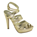 Dyeables Womens Anya Gold Metalllic Sandals Prom and Evening Shoes