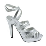 Dyeables Womens Anya Silver Metalllic Sandals Prom and Evening Shoes