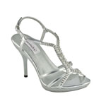 Dyeables Womens Ava Silver  Sandals Prom and Evening Shoes