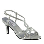 Dyeables Womens Elvira Silver Metalllic Sandals Prom and Evening Shoes