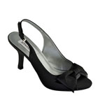Dyeables Womens Faye Black Satin Sandals Prom and Evening Shoes