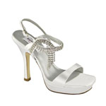 Dyeables Womens Jen White Satin Sandals Prom and Evening Shoes