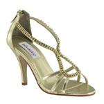 Dyeables Womens Josie Gold Metalllic Sandals Prom and Evening Shoes