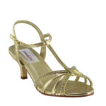 Dyeables Womens Lindsey Gold Metalllic Sandals Prom and Evening Shoes