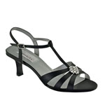 Dyeables Womens Opal Black Satin Sandals Prom and Evening Shoes