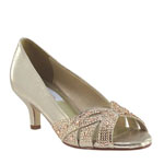 Dyeables Womens Tracy Champagne Metalllic Sandals Prom and Evening Shoes