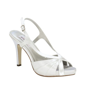 Dyeables Womens Aliyah White Satin Sandals Wedding Shoes