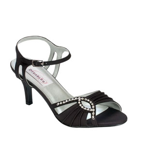 Dyeables Womens Ariana Black Satin Sandals Wedding Shoes