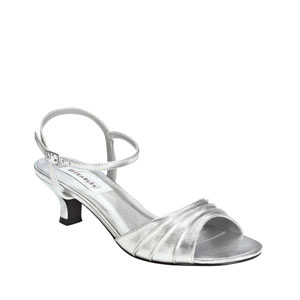 Dyeables Womens Brielle Silver Satin Sandals Wedding Shoes