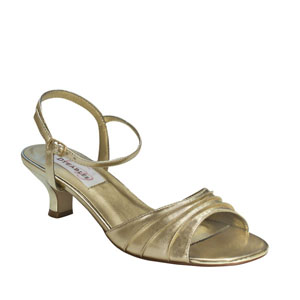 Dyeables Womens Brielle Gold Satin Sandals Wedding Shoes
