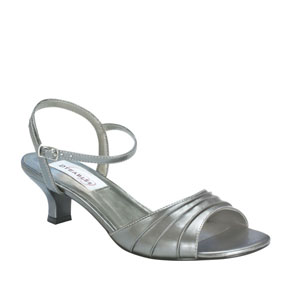 Dyeables Womens Brielle Pewter Satin Sandals Wedding Shoes