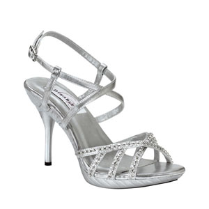 Dyeables Womens Brooklyn SilverMetallic Beaded Sandals Prom and Evening Shoes