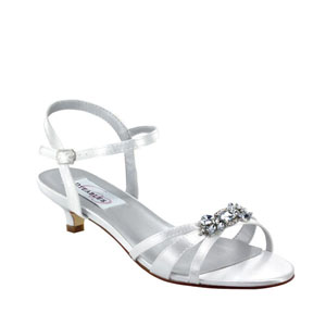 Dyeables Womens Penelope White Satin Sandals Wedding Shoes