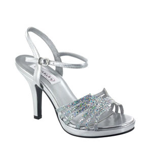 Dyeables Womens Leah Silver Glitter Glitter Platforms Prom and Evening Shoes