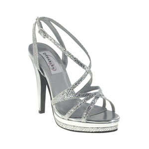 Dyeables Womens Bryce Silver Glitter Glitter Platforms Prom and Evening Shoes