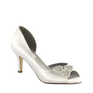 Dyeables Womens Tyra White Satin Pumps Wedding Shoes