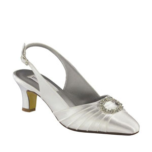 Dyeables Womens Ann White Satin Pumps Wedding Shoes