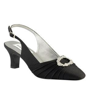 Dyeables Womens Ann Black Satin Pumps Wedding Shoes