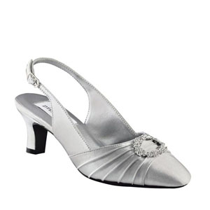 Dyeables Womens Ann Silver Satin Pumps Wedding Shoes