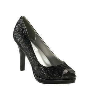 Dyeables Womens Sari  Black Glitter Pumps Prom and Evening Shoes