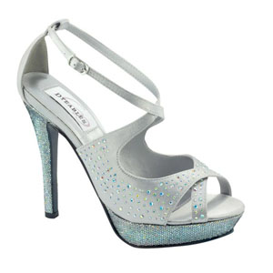 Dyeables Womens Sonya Silver Satin Platforms Prom and Evening Shoes