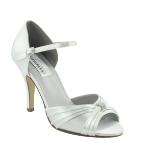 Dyeables Womens Nora White Satin Platforms Wedding Shoes