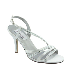 Dyeables Womens Jo  White Satin Sandals Wedding Shoes