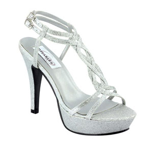 Dyeables Womens Vivi Silver Glitter Glitter Platforms Prom and Evening Shoes