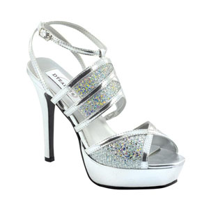 Dyeables Womens Rumer Silver Glitter Glitter Platforms Prom and Evening Shoes