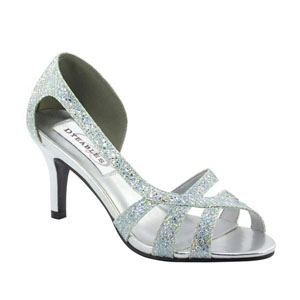 Dyeables Womens Indie Silver Glitter Sandals Prom and Evening Shoes