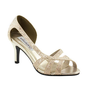 Dyeables Womens Indie Champagne Glitter Sandals Prom and Evening Shoes