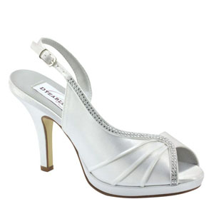 Dyeables Womens Flora White Satin Sandals Wedding Shoes
