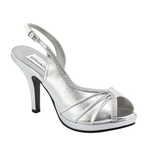 Dyeables Womens Flora Silver Metalllic Sandals Prom and Evening Shoes