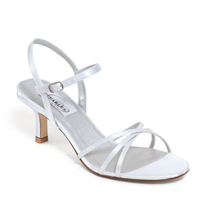 Dyeables Womens Flamingo White Satin Sandals Wedding Shoes