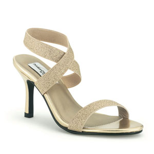 Dyeables Womens Best Bet Gold Glitter Sandals Prom and Evening Shoes