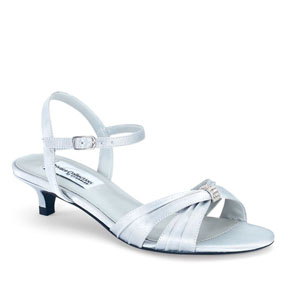 Dyeables Womens Fiesta Silver Satin Sandals Prom and Evening Shoes