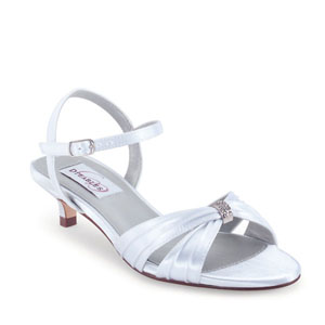 Dyeables Womens Fiesta White Satin Sandals Prom and Evening Shoes