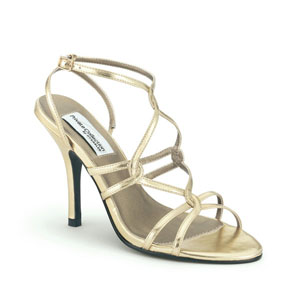 Dyeables Womens Runway Gold Metalllic Sandals Prom and Evening Shoes