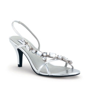 Dyeables Womens Cheryl Silver Beaded Sandals Prom and Evening Shoes