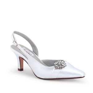 Dyeables Womens Lori White Satin Sling Back Wedding Shoes