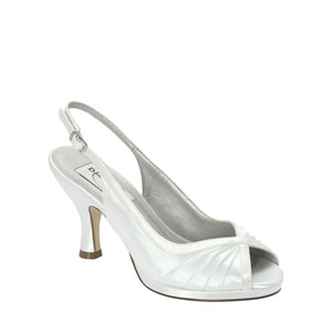 Dyeables Womens Hannah White Metalllic Peep/Open Toe Prom and Evening Shoes