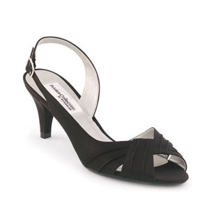 Dyeables Womens Nicky Black Satin Peep/Open Toe Wedding Shoes