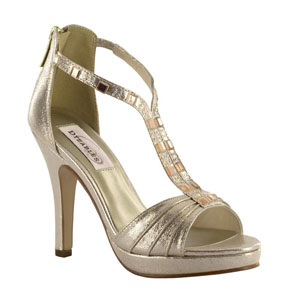 Dyeables Womens Riley Champagne Shimmer Synthetic Platforms Prom and Evening Shoes