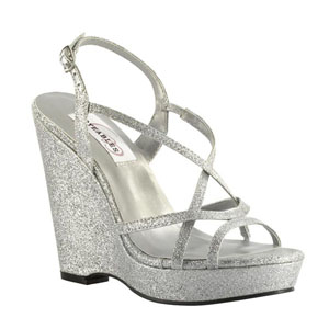 Dyeables Womens Dee Silver glitter Glitter Sandals Prom and Evening Shoes